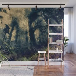 abstract misty forest painting hvhdfn Wall Mural