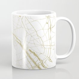 Paris Gold and White Street Map II Coffee Mug