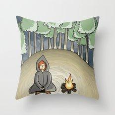 Campfire Girl Throw Pillow