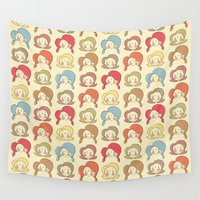 girls Wall Tapestries featuring Girls, Girls, Girls by Lisa Jayne Murray - Illustration