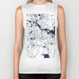 Amsterdam White on Navy Street Map Biker Tank