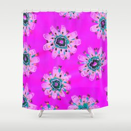 Neon Lilly Lace Rose Shower Curtain