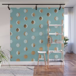 The Lunar Cycle • Phases of the Moon – Copper & Robin's Egg Blue Palette Wall Mural