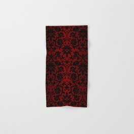 Dark Red and Black Damask Hand & Bath Towel