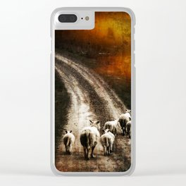 Sheeps running Clear iPhone Case