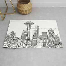 Minimalist Black and White Seattle Skyline with Space Needle Rug