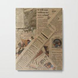 newspaper old vintage collage scrapbook Metal Print