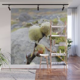 Watercolor Tree, Part, Pussy Willow 01, Solheimajokull Glacier, Iceland Wall Mural