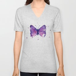 Butterfly Purple Watercolor Animal Unisex V-Neck
