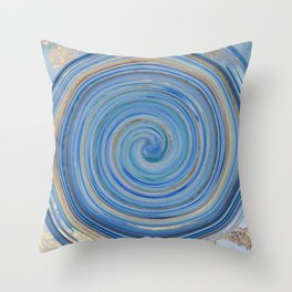 Abstract Ocean Wave Blue Swirl Throw Pillow