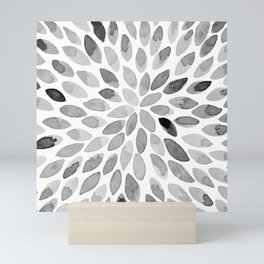 Watercolor brush strokes - black and white Mini Art Print