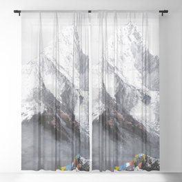 Panoramic View Of Everest Mountain Sheer Curtain