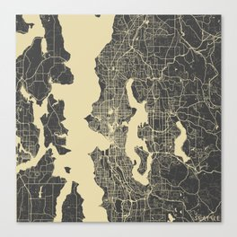 Seattle map yellow Canvas Print