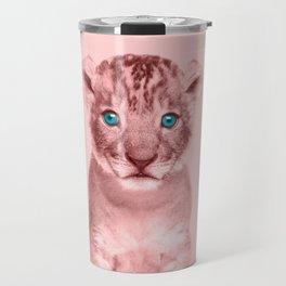 Pink Lion Cub Photography - Animal Art Travel Mug