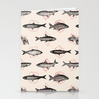 cake Stationery Cards featuring Fishes In Geometrics (Red) by Florent Bodart / Speakerine