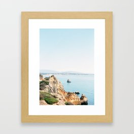 Coast of Lagos, Algarve in Portugal | Bright and airy seascape photography art Framed Art Print