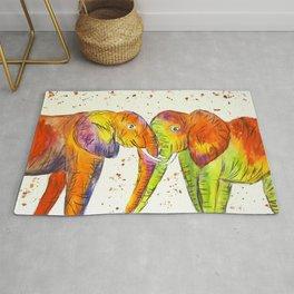 Colourful Elephants Kissing Rug