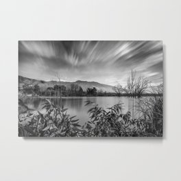 """Windy Clouds At The Lagoon"" BW Metal Print"