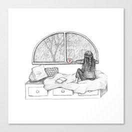 Rainy Day Window pencil illustration Canvas Print