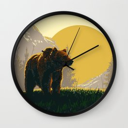 Early Morning Grizzly Bear Wall Clock