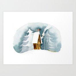 Cat on the Snowy Roof Art Print