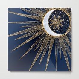 Elegant Gold & Blue Sun Moon Mandala Doodles Art Metal Print