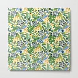 Tropical Floral Toss Metal Print