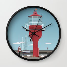 The lighthouse in the harbour in Skanor - light Wall Clock