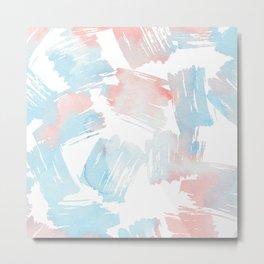 Pastel coral teal modern watercolor paint brushstrokes Metal Print