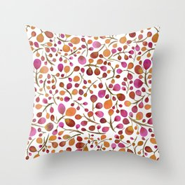 Tangle of Leaves - Autumn Berries Throw Pillow