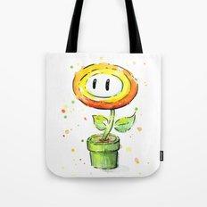 Fire Flower Watercolor Painting Mario Game Geek Art Tote Bag