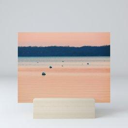 Pink sunset on Severn River, MD | Minimalist landscape photography Mini Art Print