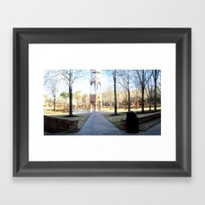 Clock Tower on Campus Framed Art Print
