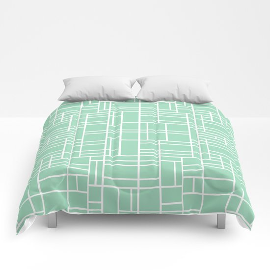 Map Outline Mint Comforters
