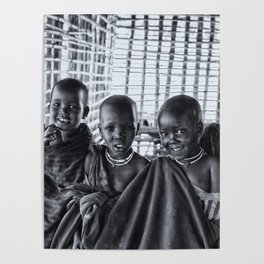 4239 Portrait of Young Maasai Children - Black and White Poster