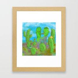 Kissing Cactus Framed Art Print