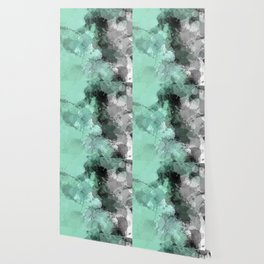 Mint Green Paint Splatter Abstract Wallpaper