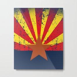 Arizona Flag Grunged Metal Print