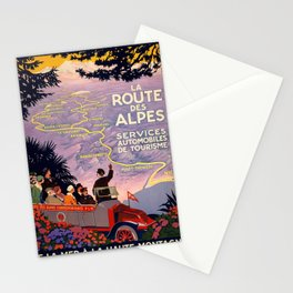 Vintage poster - Route des Alpes, France Stationery Cards
