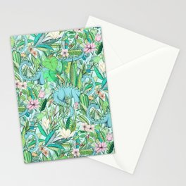 Improbable Botanical with Dinosaurs - soft pastels Stationery Cards
