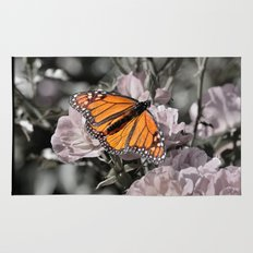 Monarch Butterfly on Pink Flowers and Gothic Tile Rug