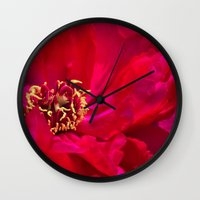 peony Wall Clocks featuring Peony by Christine Belanger