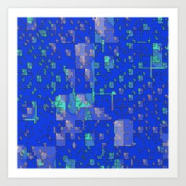 Abstract Blue Cityscape Art Print
