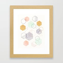 Hexagon Scatter Framed Art Print