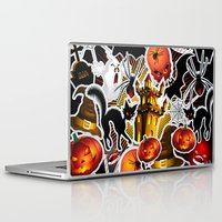 saga Laptop & iPad Skins featuring Halloween Spooky Cartoon Saga by BluedarkArt