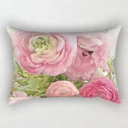 Shabby Chic Cottage Ranunculus Peonies Roses Floral Print Home Decor Rectangular Pillow