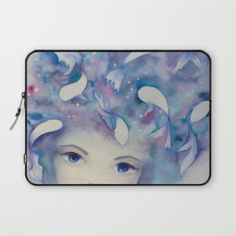 Watercolor girl with fish in the water portrait Laptop Sleeve