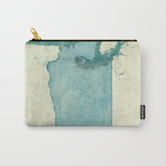 Washington State Map Blue Vintage Carry-All Pouch
