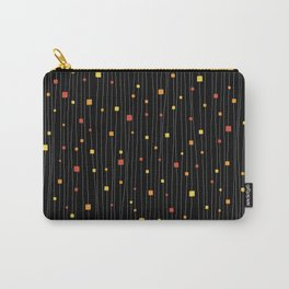 Squares and Vertical Stripes - Warm Colors on Black - Hanging Carry-All Pouch