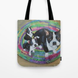Boston Terrier and Puppies Tote Bag